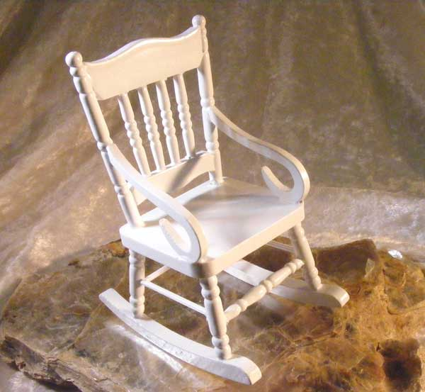 Wood rocking chair miniature for dollhouse crafts ooak for Small wooden rocking chair for crafts